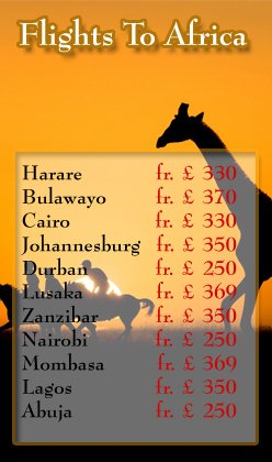 Cheap Flights to Africa, Travel to Africa, Cheap Flights to Harare, Harare Special Offers